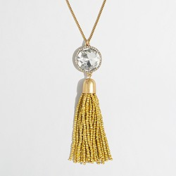 Beaded moon tassel pendant necklace