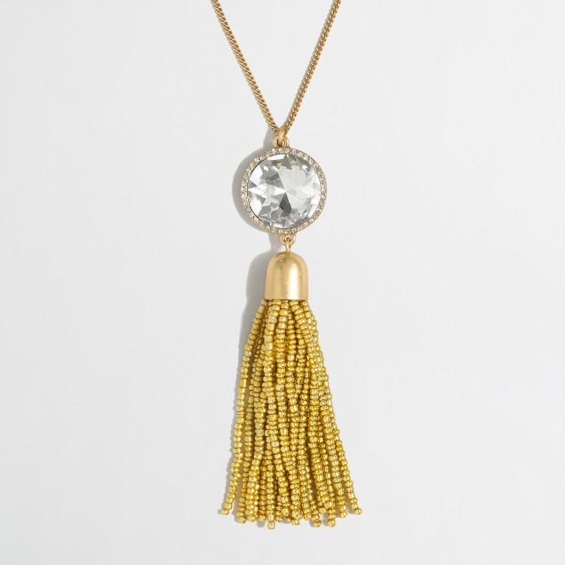 Beaded moon tassel pendant necklace