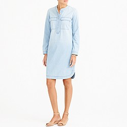 Petite light indigo shirtdress