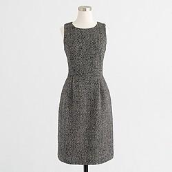 Petite pleated tweed dress