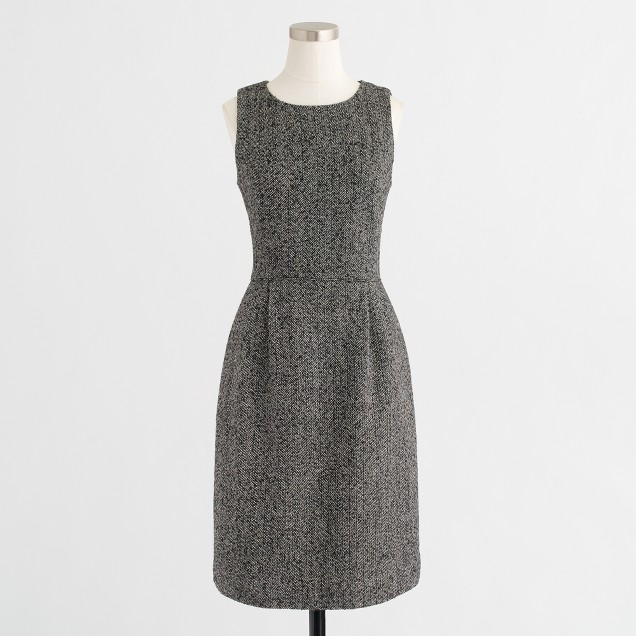 Pleated tweed dress