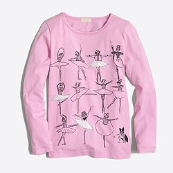 Girls' long-sleeve ballet class keepsake T-shirt
