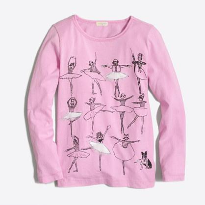 Girls' long-sleeve ballet class keepsake T-shirt