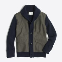 Boys' woven-front sweater jacket