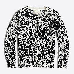 Girls' snow leopard cardigan sweater