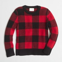 Boys' buffalo check crewneck sweater