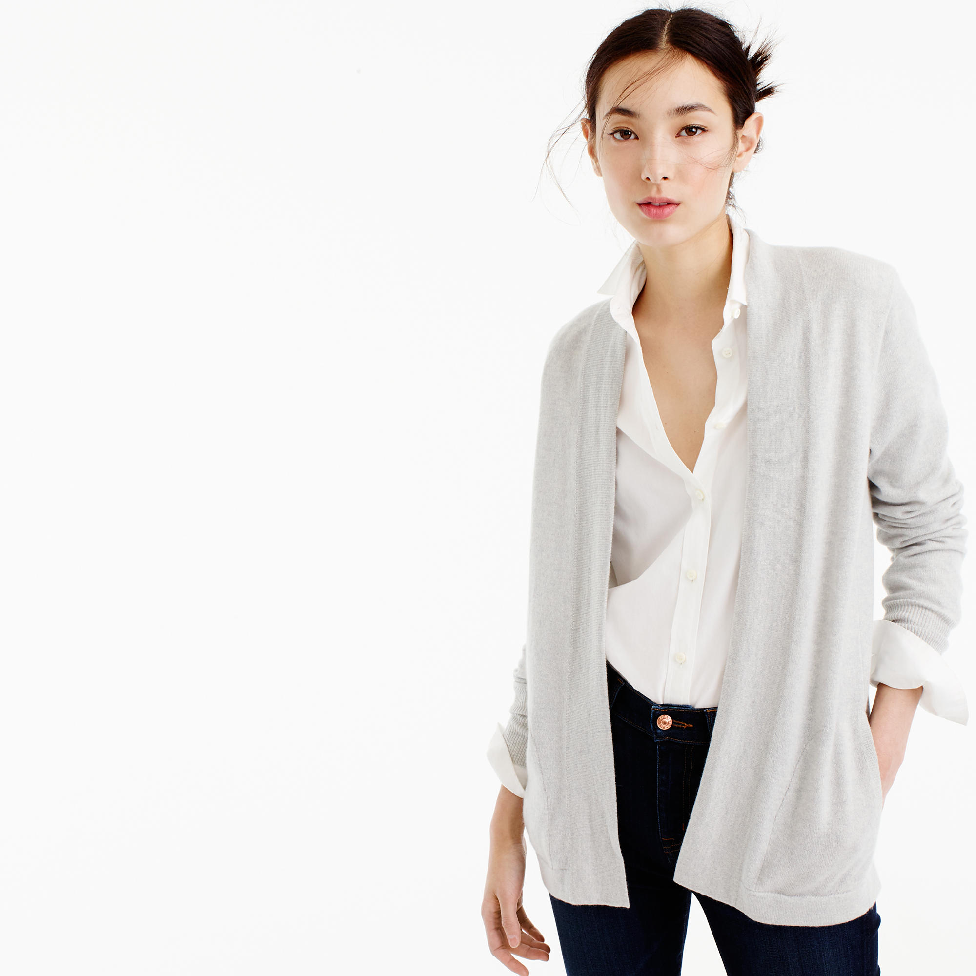 Italian Cashmere Long Open Cardigan Sweater : Women's Cashmere ...