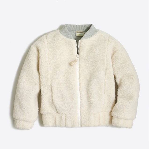 Girls' sherpa bomber jacket