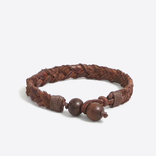 Mixed-leather braided bracelet