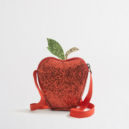 Girls' apple glitter bag