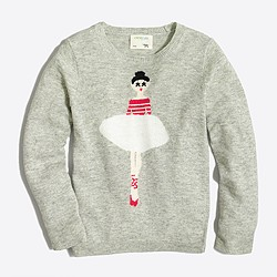 Girls' ballerina intarsia sweater