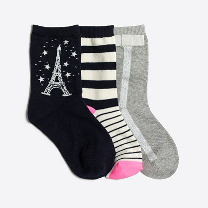 Girls' glow-in-the-dark Eiffel Tower socks three-pack