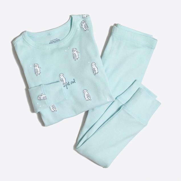 Girls' night owl pajama set