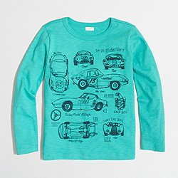 Boys' long-sleeve vintage race cars storybook T-shirt