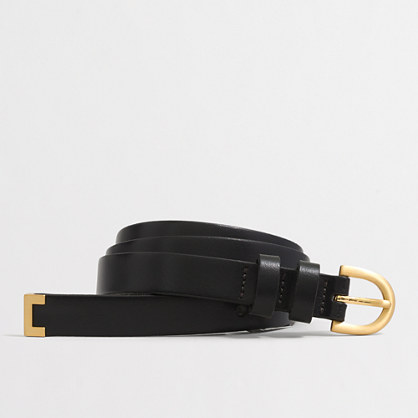 Golden tip leather belt