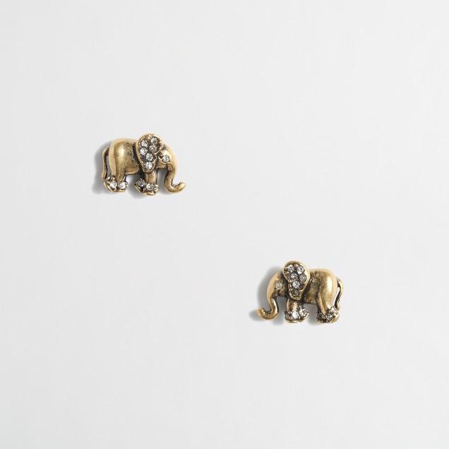 Golden elephant stud earrings