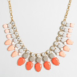 Crystal and stone rows necklace
