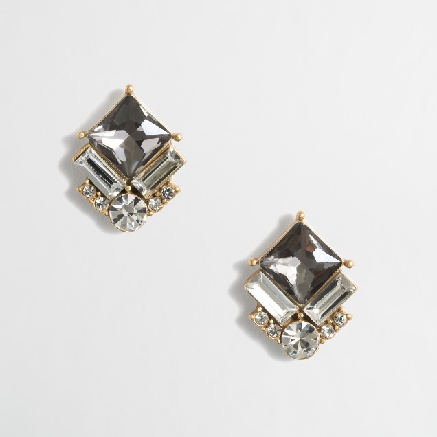 Geometric gemstone cluster earrings