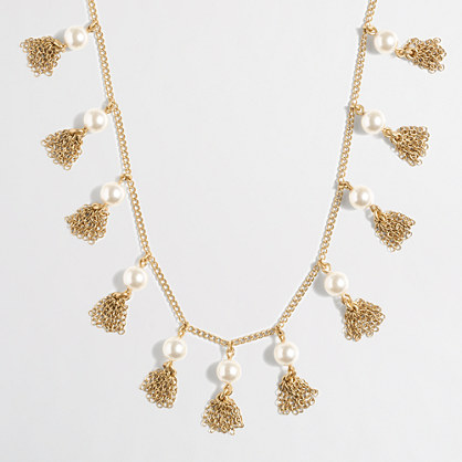 Pearl and chain tassel necklace