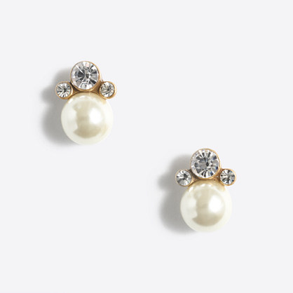 Crystal and pearl stud earrings