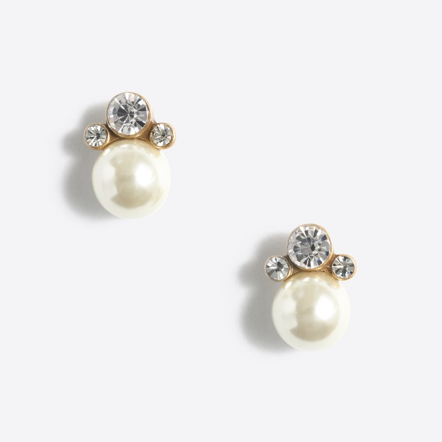 Crystal and pearl sunrise stud earrings