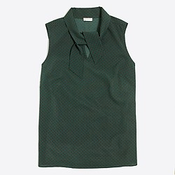 Printed sleeveless tie-neck top