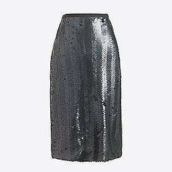 Sequin herringbone pencil skirt