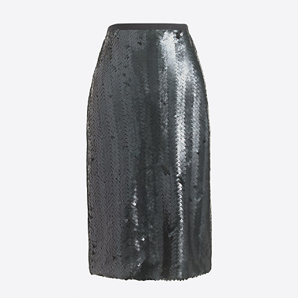 Sequin herringbone pencil skirt