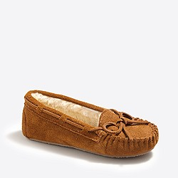 Boys' suede shearling slippers