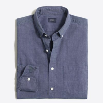 Slim washed shirt in end-on-end cotton factorymen casual shirts c