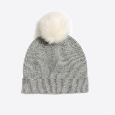 Girls' knit hat with faux-fur pom-pom