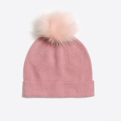 Girls' knit hat with faux-fur pom-pom