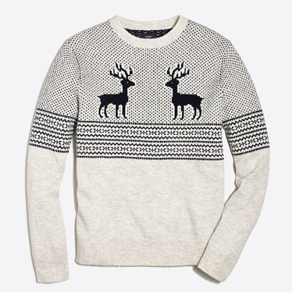 Reindeer Fair Isle crewneck sweater