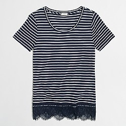Striped lace-hem T-shirt