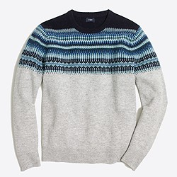 Slim indigo Fair Isle crewneck sweater