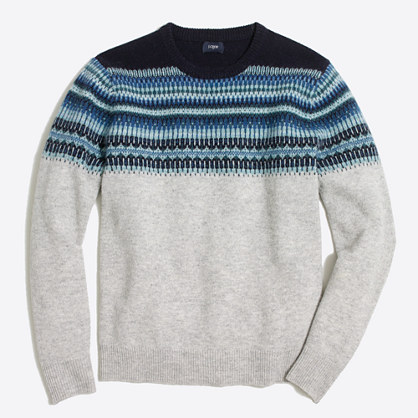 Indigo Fair Isle crewneck sweater