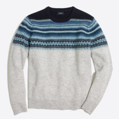 Slim indigo Fair Isle crewneck sweater : FactoryMen Sweaters | Factory