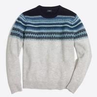 Slim indigo Fair Isle crewneck sweater