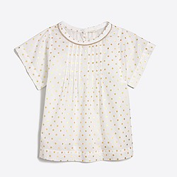 Girls' gold foil dot top