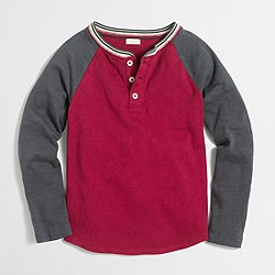 Boys' long-sleeve striped ringer colorblock henley