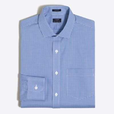 Mini-gingham flex wrinkle-free Voyager dress shirt factorymen dress shirts c