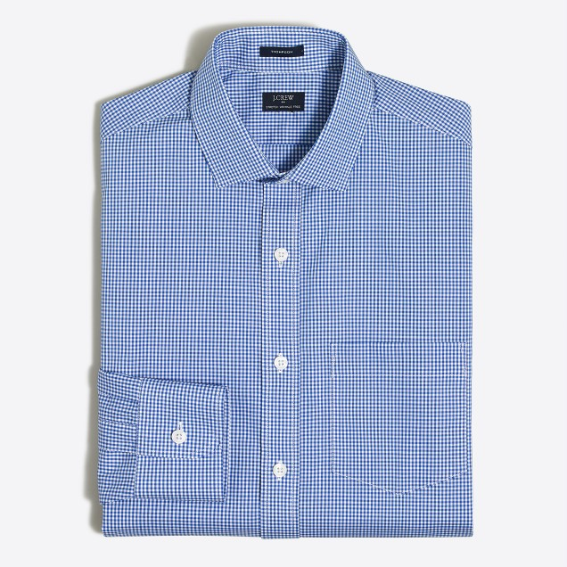 Mini-gingham flex wrinkle-free Voyager dress shirt