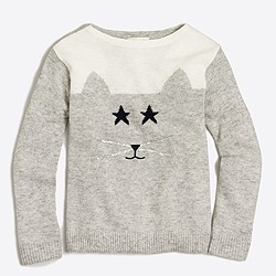 Girls' embellished cat intarsia popover sweater