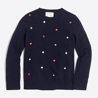 Girls' rainbow jeweled popover sweater