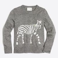 Girls' zebra intarsia popover sweater