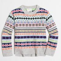 Girls' neon Fair Isle popover sweater