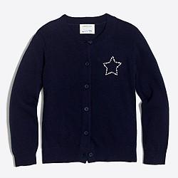 Girls' jeweled star cardigan sweater