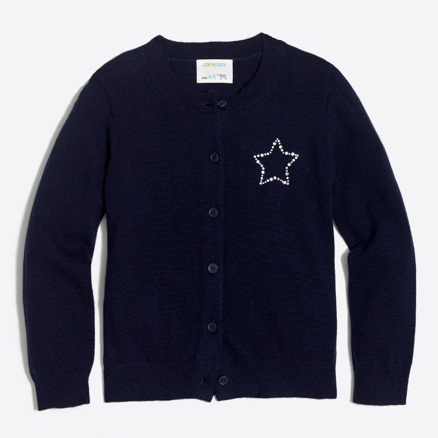 Girls' jeweled star cardigan sweater