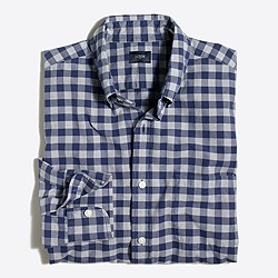Gingham washed shirt in end-on-end cotton