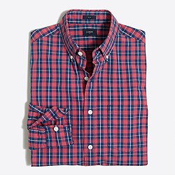 Tall slim washed shirt in tartan